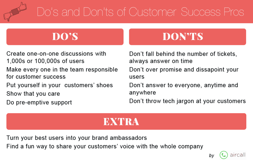Do's and don'ts of customer success