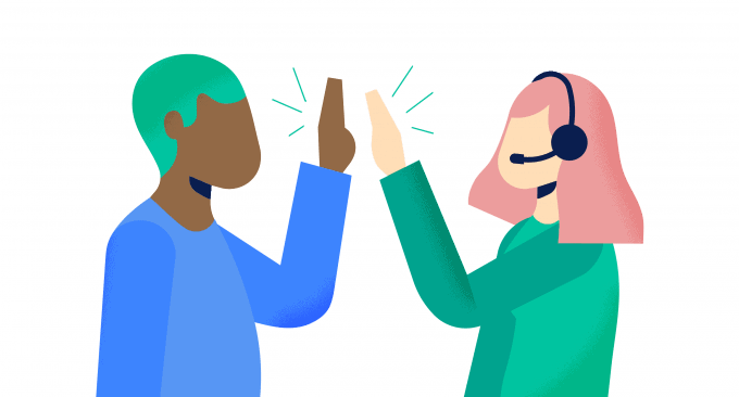 two people high five