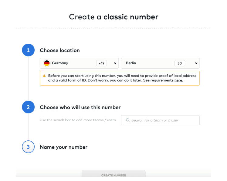 proof of ID create a number